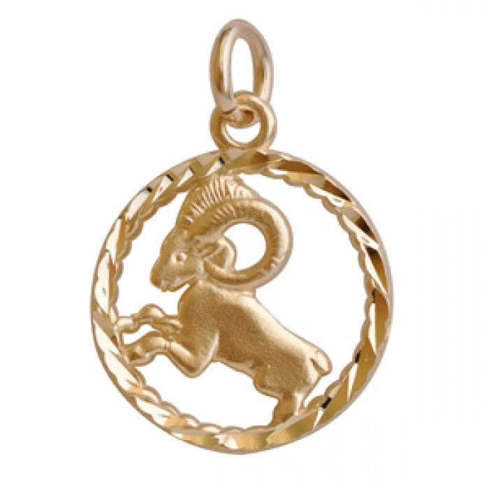 "10K Yellow Gold Aries Pendant Necklace (18"" Chain)"