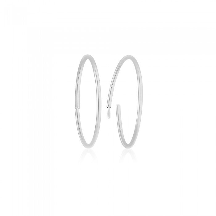 White Gold Sleeper Hoop Earrings - 15.3mm (.6in) Diameter