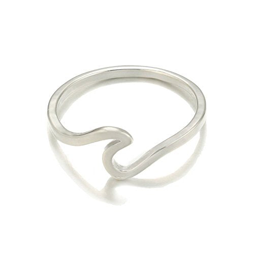 Sterling Silver Ocean Sea Island Beach Wave Wrap Womens Wedding Engagement Ring (8,Silver)