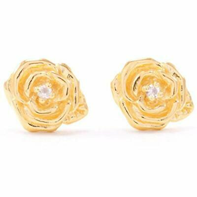 "Classic""Purity"" Rose Stud Earrings White Topaz 18K Gold Plated Women's Jewelry"
