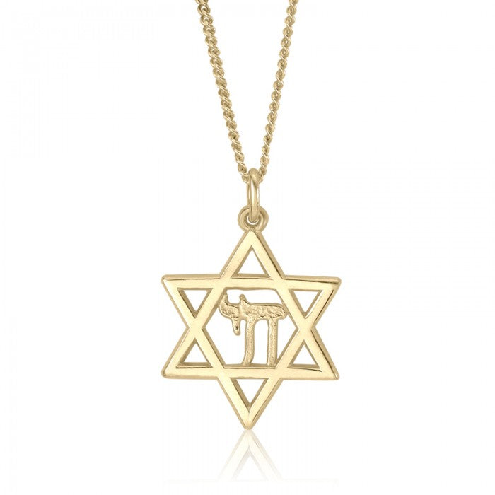 10K Yellow Gold Jewish Star of David Chai Pendant Charm Religious Judaica Fine Authentic Jewelry With Chain