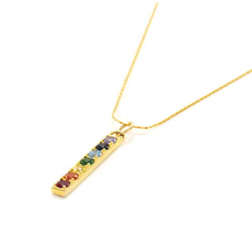 Seven Saints Chakra Align Rainbow Bar Necklace, 18k Gold Vermeil - 18 inches