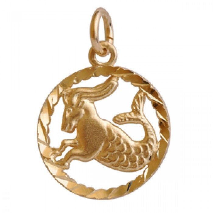 "10K Yellow Gold Capricorn Pendant Necklace (16"" Chain)"