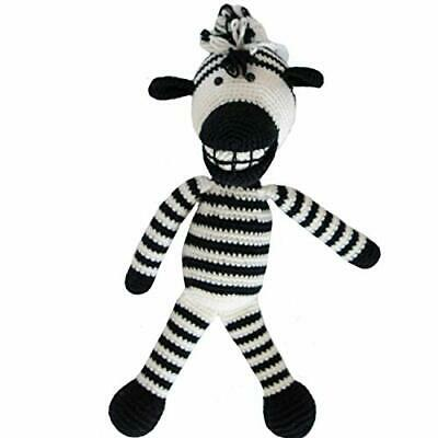 Hand Knitted Toys Animals Cute Kids Huggable Organic Yarn - Lebo The Zebra