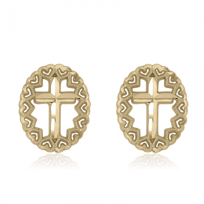 10K Yellow Gold Oval Cross Baby Stud Earrings