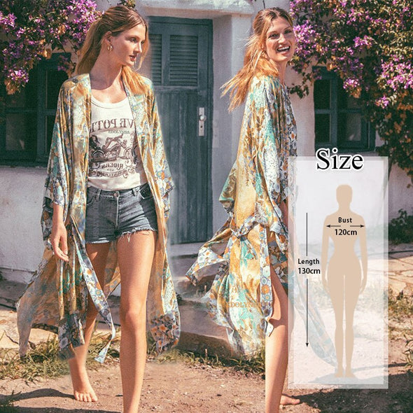 Cotton Beach Kimono Women Cover Ups Print Beach Cover Up Saida De Banho Para Praia Sarong Robe De Plage Cover-Ups Tunic #Q803