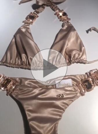 Tina Halter Top & Skimpy Bottom - Gold