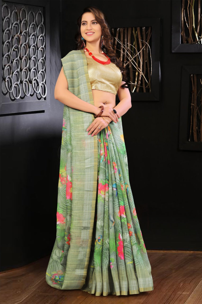 Pure Linen Flower design green & Mahendi Digital Print Saree 3015