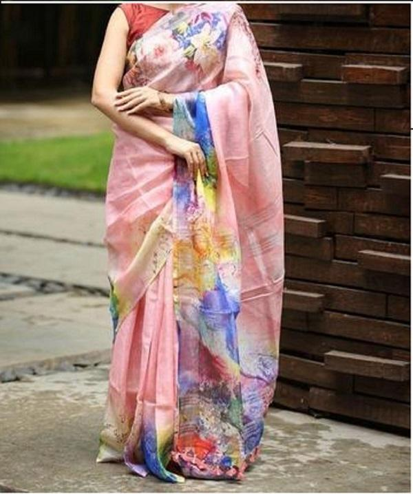 Linen Flower Design Cotton Silk Saree Pink Flower Digital Print JD1012