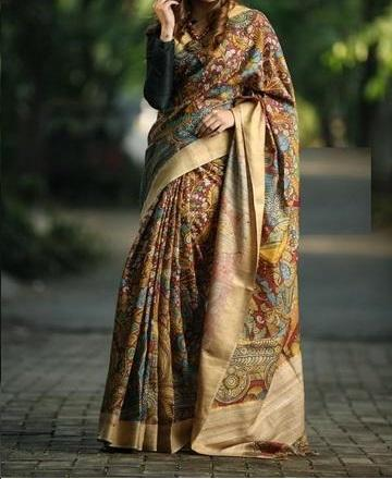 Designer Multi Maroon & Golden Border Digital Print Saree C1014