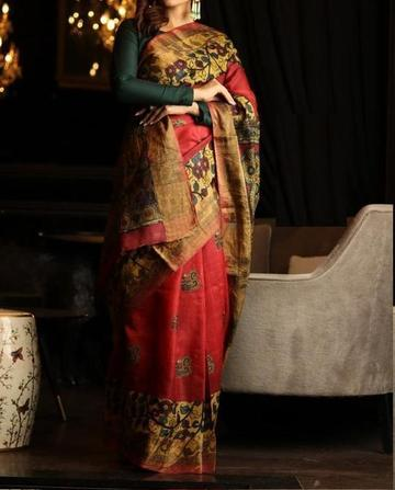 Pure Linen Flower Design Red and Black Digital Print Saree  JD1018