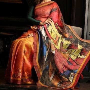 Rapchik Red & Orange Digital Print Saree C1021