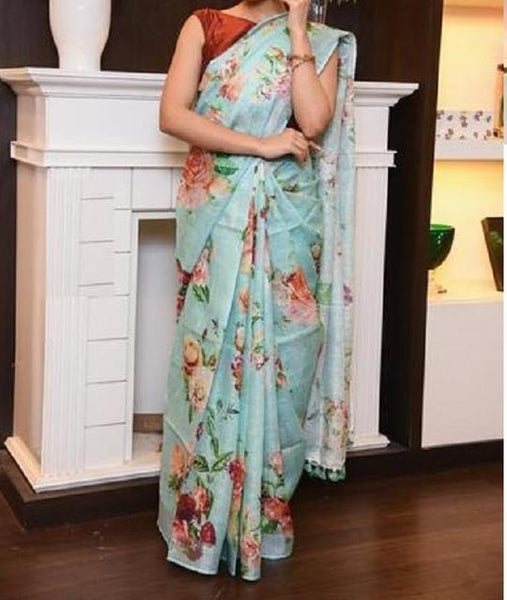 Forever Sky Blue Digital Print Saree C1030