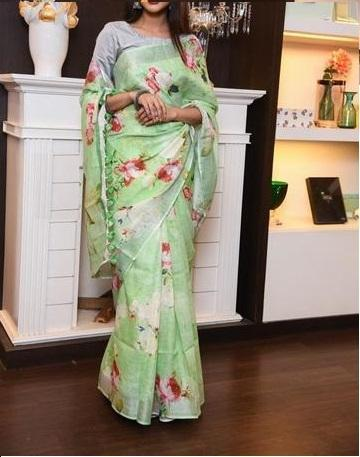 Linen Flower design Cotton Silk Parrot Digital Print Saree JD1031