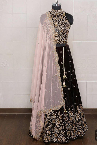 Black Designer Embroidery Lehnga Choli HK0001