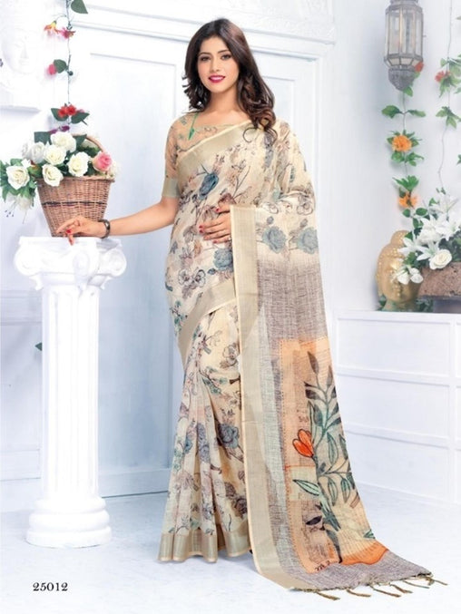 Pure Linen Cream Sparrow Digital Printed Saree JD1176