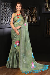 Pure Linen Flower design Mahendi Digital Print Saree JD1187