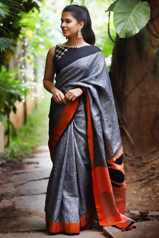 Beautiful Gray Color Linen Digital Printed Sari JD1067