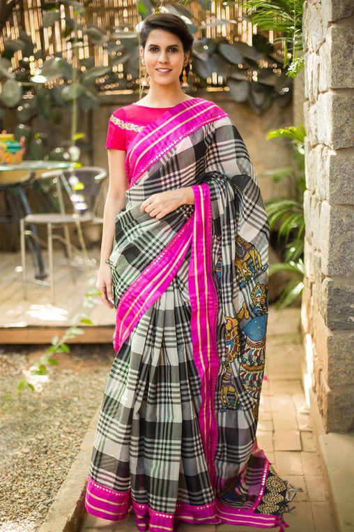 Beautiful Black And White Color Linen Digital Printed Sari JD1092