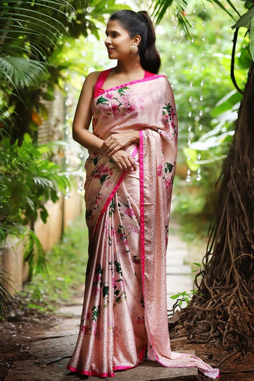 Party Ware Pink Color Linen Digital Printed Sari JD1069