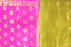 Mahendi and Pink  checks dholak banarasi soft silk saree 2084