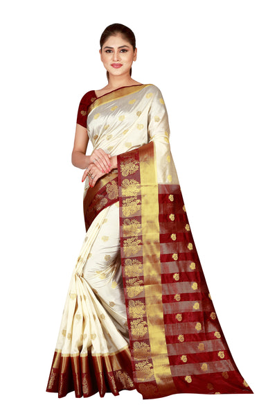 Cotton Silk Designer Print Saree D-07