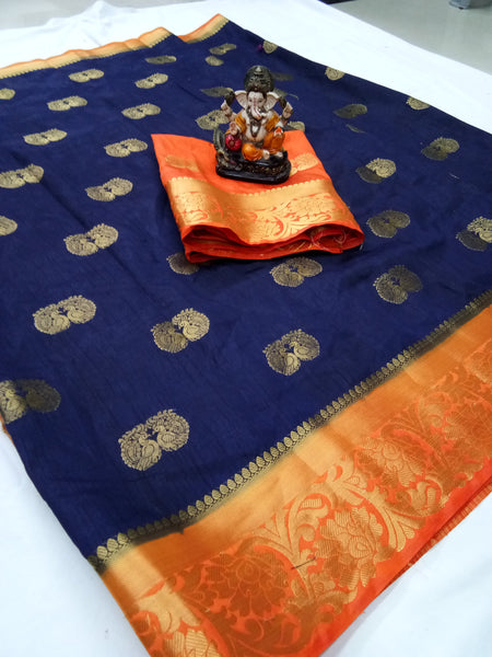 Cotton Silk Designer Print Saree D-18