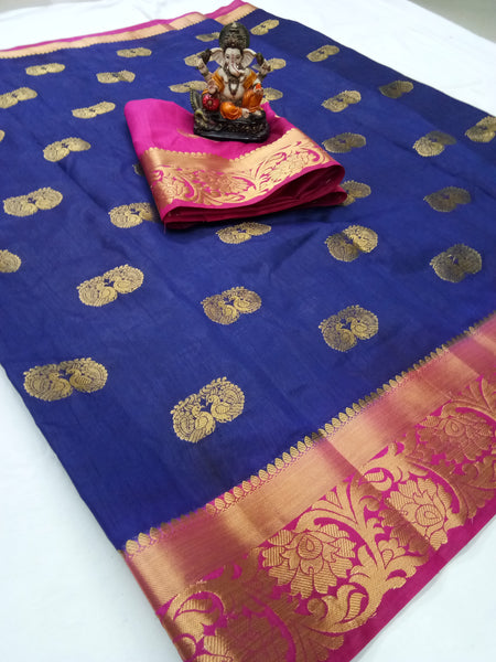Cotton Silk Designer Print Saree D-21