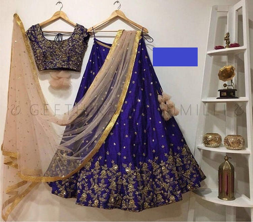Refreshing Blue Embroiderey Designer Lehnga Choli HK