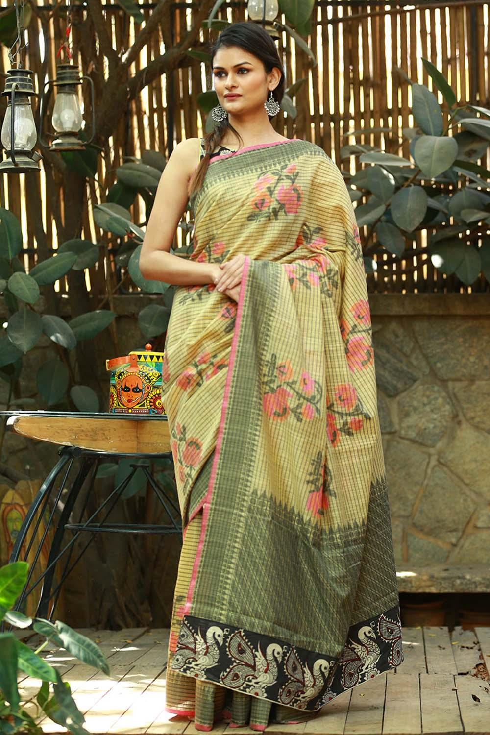 Linen Cotton Mahendi  Digital Print Saree JD1109