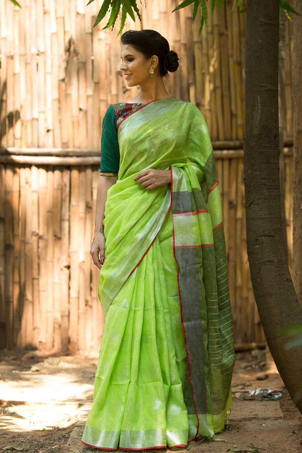 Linen Cotton Parrot & Green Pallu  Digital Print Saree 1026 HB