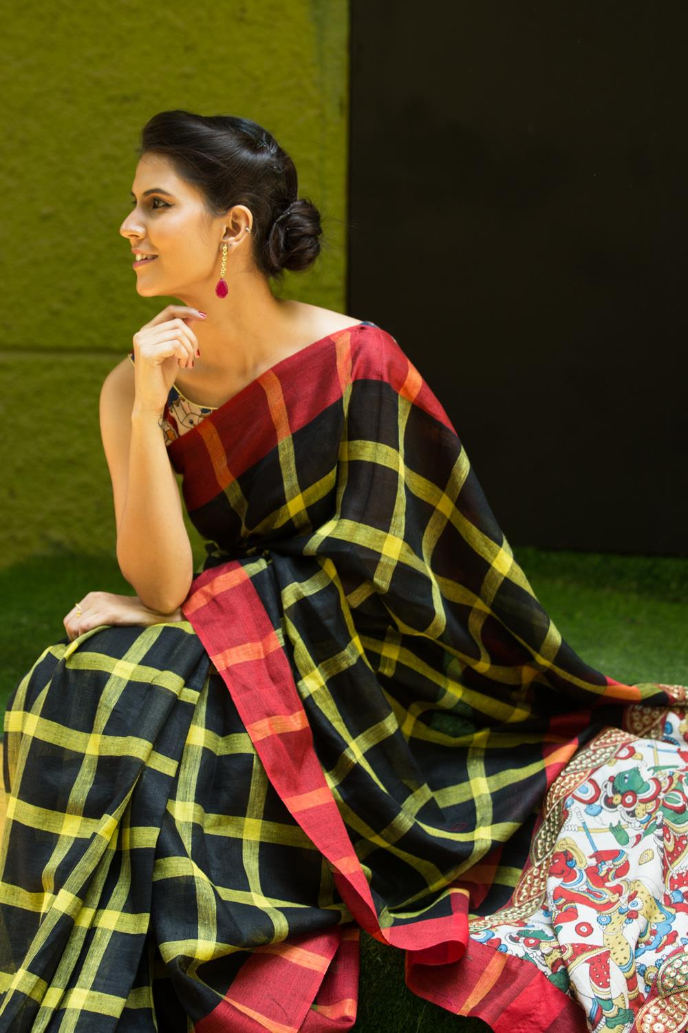 Linen Cotton Black Yellow Chokda Red Border  Digital Print Saree 1006 HB