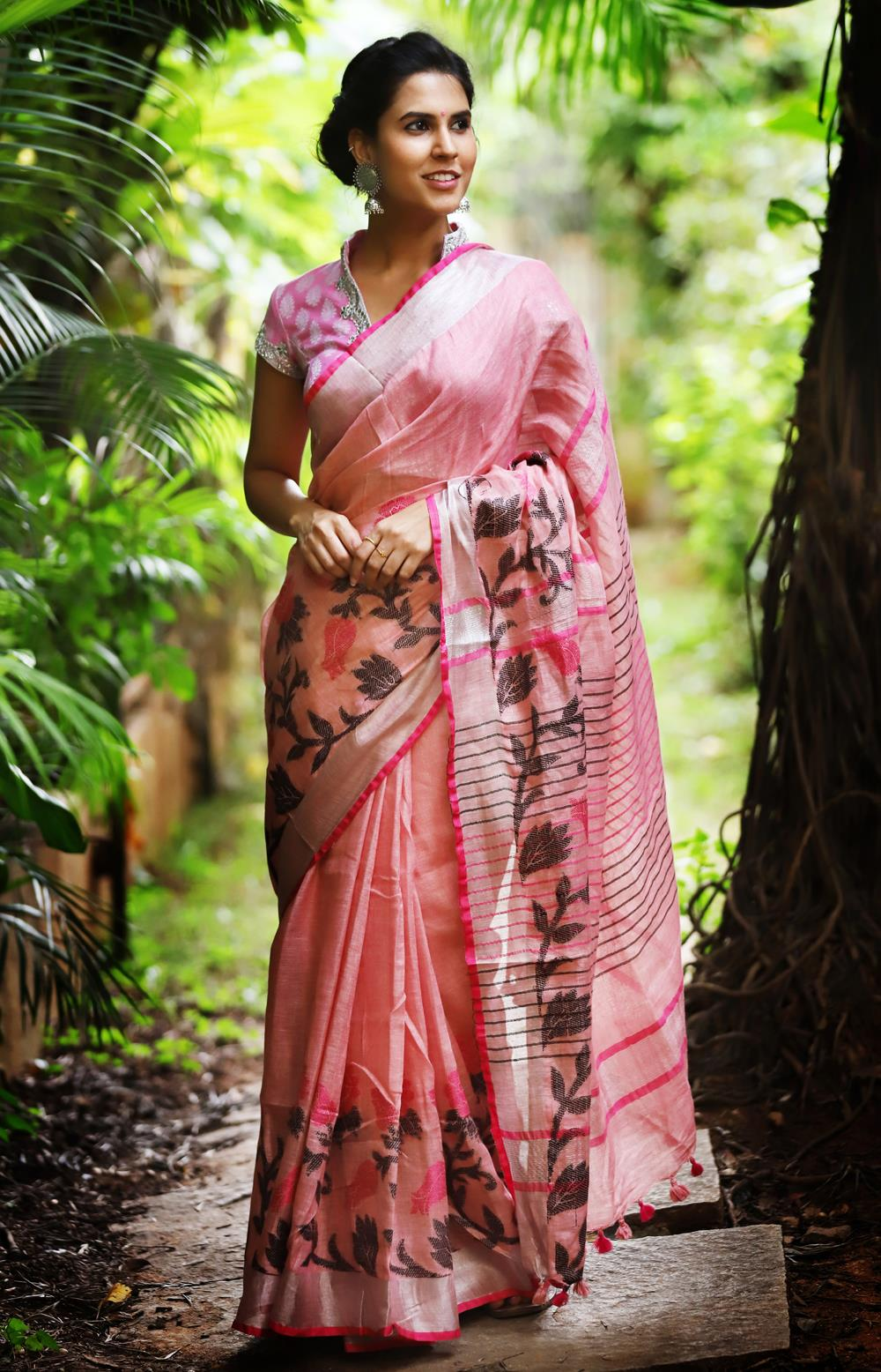 Linen Cotton Pink & Silver Border  Digital Print Saree JD1077