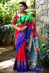 Linen Cotton Red & Parrot & Blue Border  Digital Print Saree JD1071