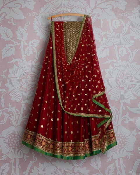 Red Multi colour Designer Lehnga Choli Lg 59