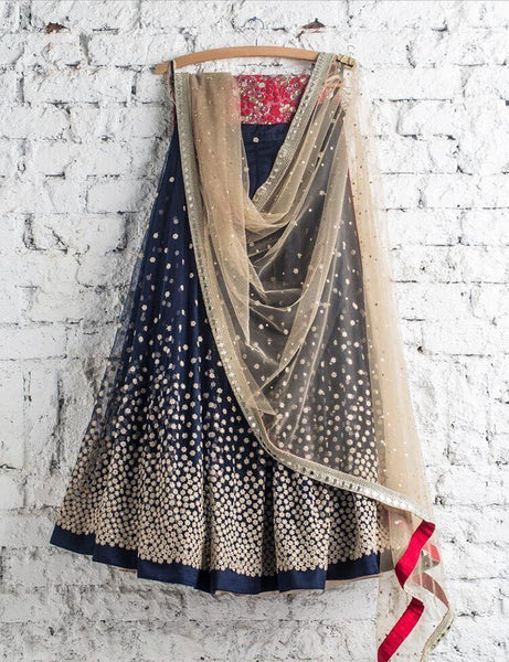 Navy Blue Multi colour Designer Lehnga Choli Lg 61