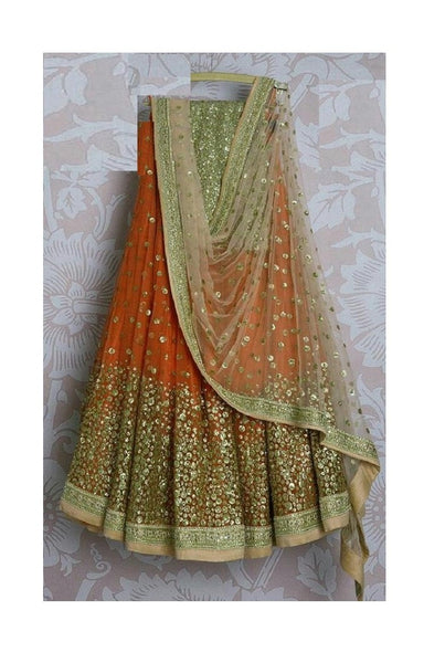 Orange Multi colour Designer Lehnga Choli Lg 62
