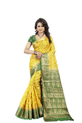 Lotus Mor Lemon Designer Soft SIlk Banarasi Saree 2074