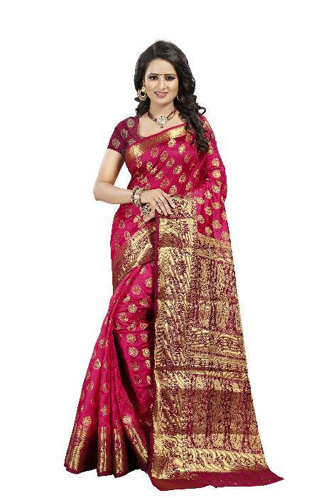 Lotus Mor Peach Designer Soft SIlk Banarasi Saree 2076