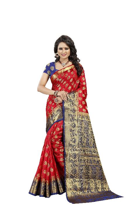 Lotus Mor Red Designer Soft SIlk Banarasi Saree 2077