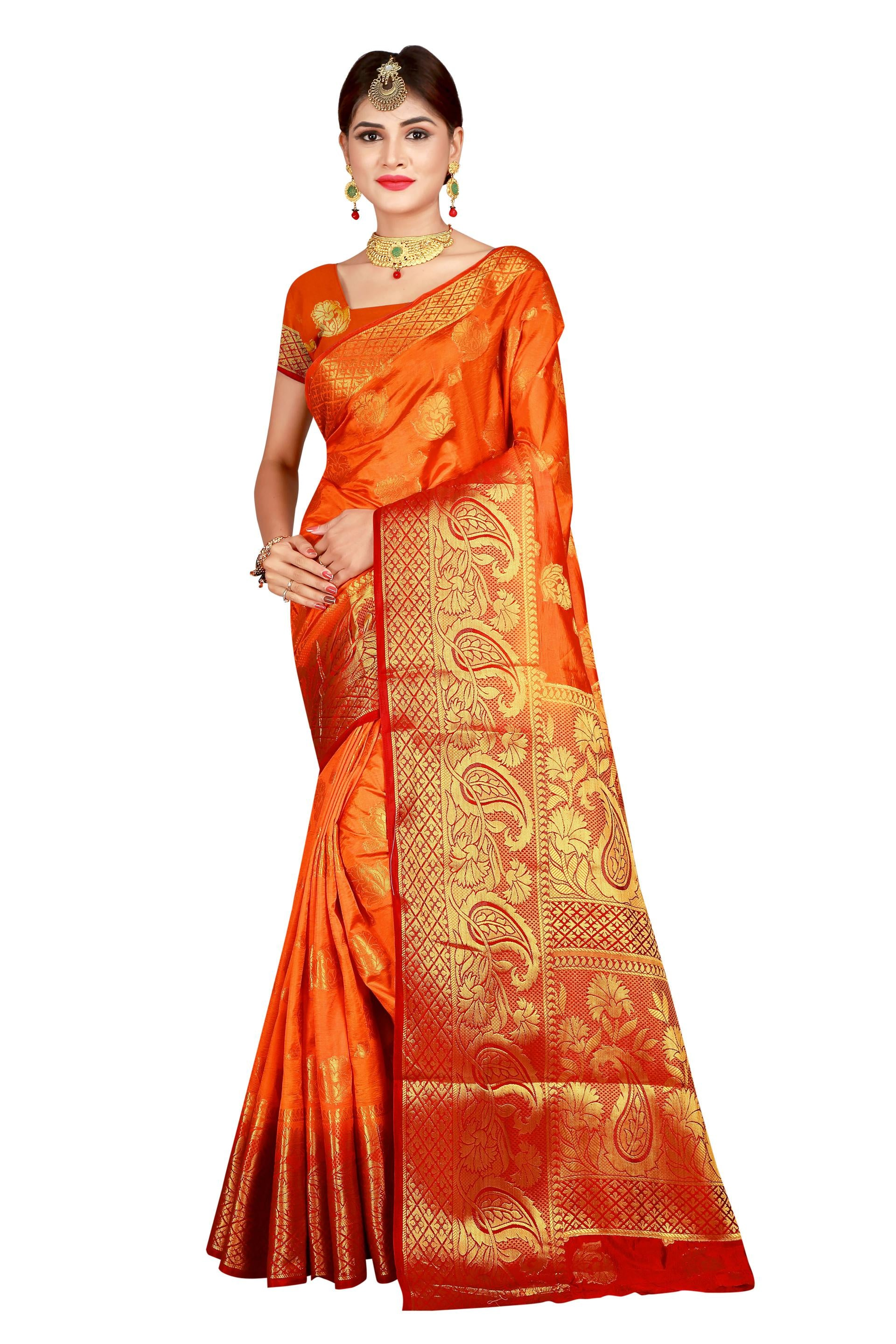 Mango Vel Orange Designer Soft SIlk Banarasi Saree 2089