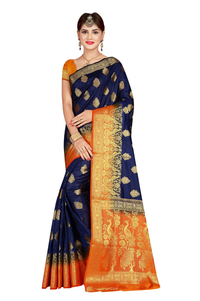 Mira Blue heavy Designer Soft SIlk Banarasi Saree