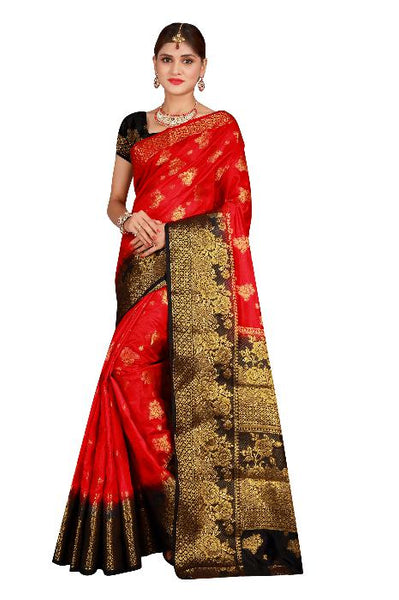 Rosse Red heavy Designer Soft SIlk Banarasi Saree 3023