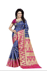 Rubby Blue heavy Designer Soft SIlk Banarasi Saree 3028
