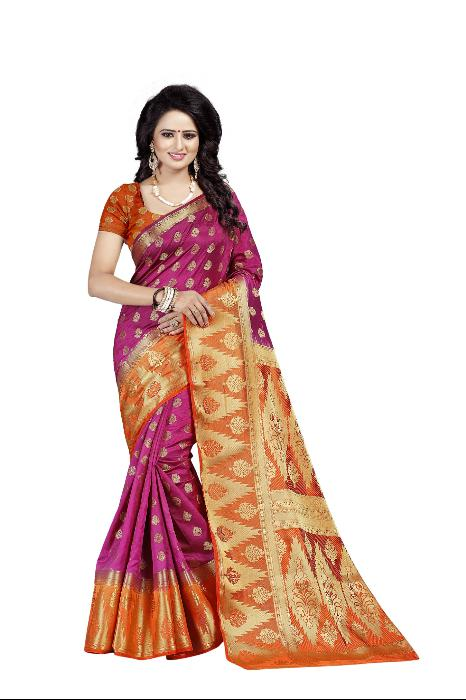 Rubby Magenta heavy Designer Soft SIlk Banarasi Saree 3030