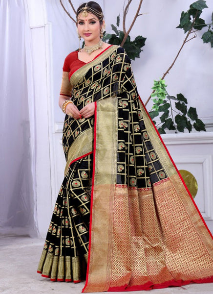 Banarasi Black Cotton Rich Pallu With Contrast Pallu With Contrast Blouse 2028