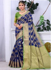 Banarasi Navy Blue Cotton Rich Pallu With Contrast Pallu With Contrast Blouse 2032