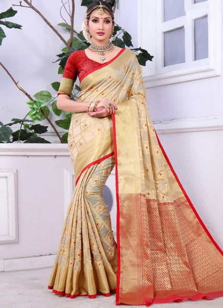 Banarasi Beige Cotton Rich Pallu With Contrast Pallu With Contrast Blouse 2027