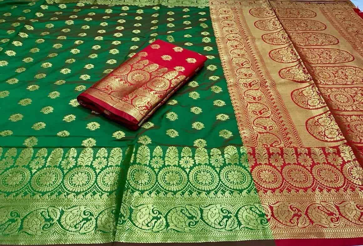 Parrot banarasi silk saree with heavy zari rich pallu and heavy blouse piece 3011
