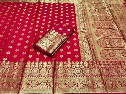 New Red banarasi silk saree with heavy zari rich pallu and heavy blouse piece 3004